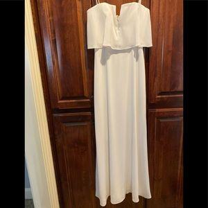 NWT BCBG white strapless maxi evening dress